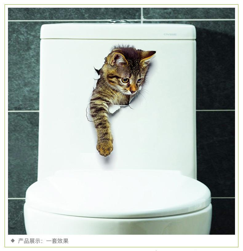 Carino Gatto 3D Muro Foro Adesivo Bagno Wc Bambini Stanza Decorazione Calcomanie