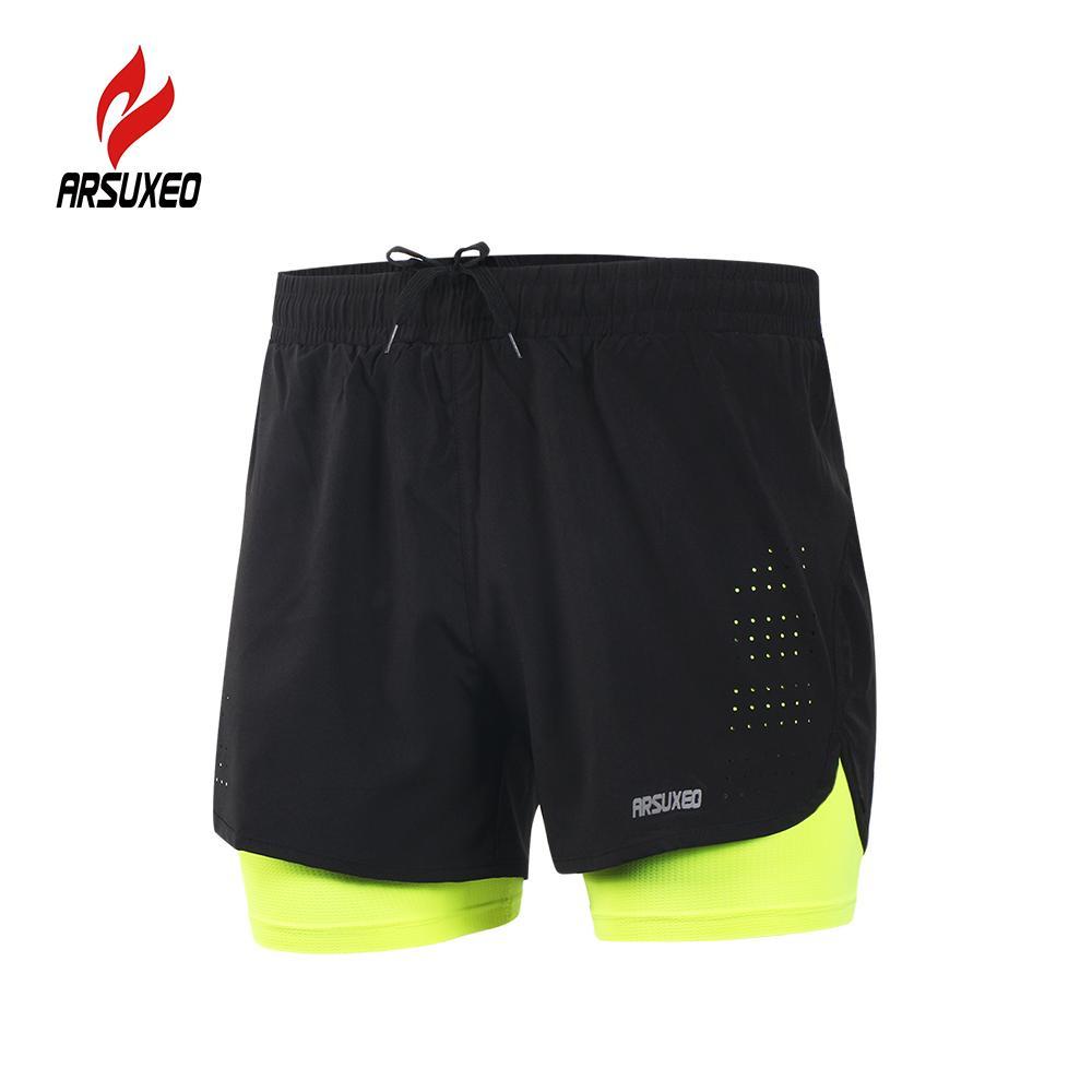 46a970776d Compre Shorts De Entrenamiento Para Correr 2 En 1 Para Hombre De Arsuxeo