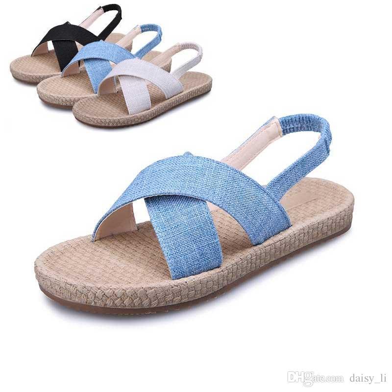 5e21821e6b7a Dama negra Moda Roma Sandalias Mujer Playa Zapatos 2019 Verano Mujer Punta  abierta Suela de lino Sandalias Azul Blanco # 38