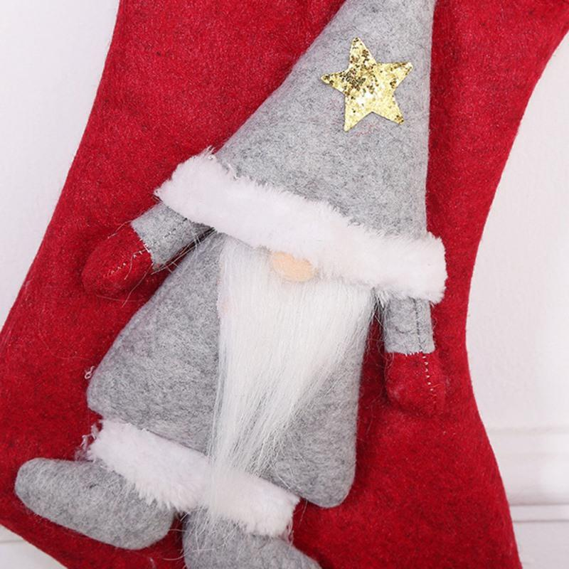 Christmas Stockings Gift Bag Faceless Doll Sock Kids Candy Bag Gift Deer Hanging Christmas Tree Ornament Festive Party Supplies