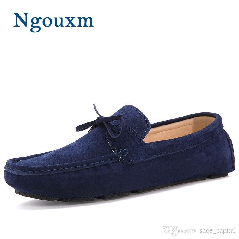 b870d80c8 Compre Homens Ngouxm Mocassim Mocassins Casuais Sapatos De Camurça De Couro  Camurça Azul Marinho Deslizamento Em Sapatos Mocassins Para O Homem Homme  ...