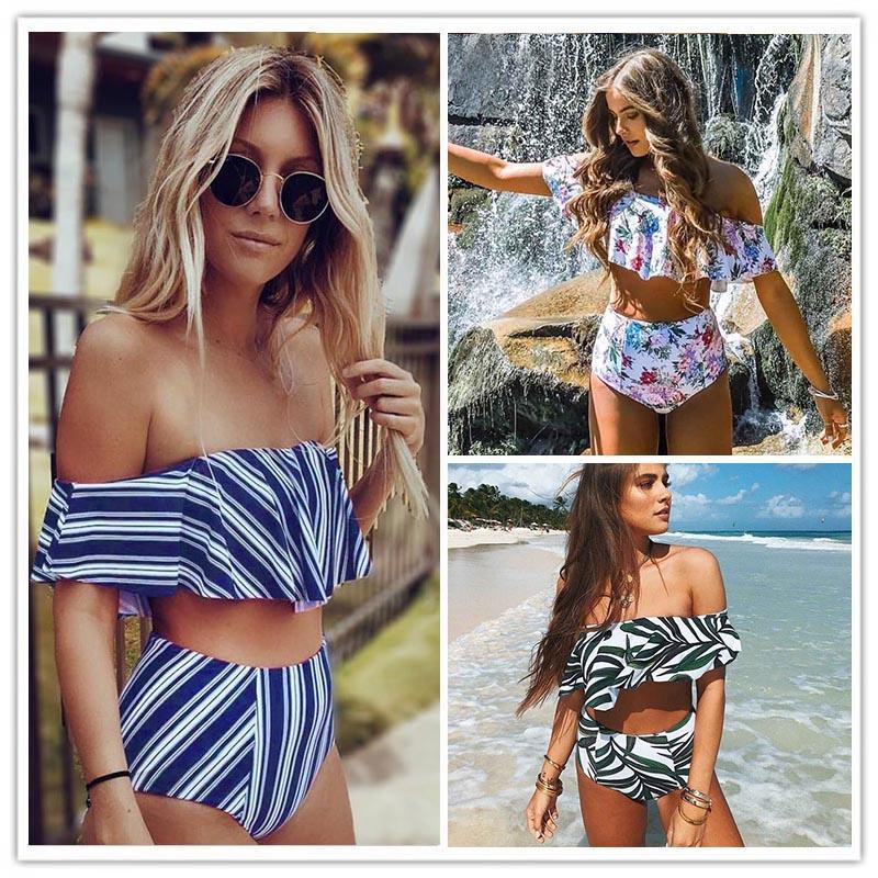 301737a01948c 2019 New Fashion Sexy Bikini Set High Waist Swimwear Women Striped Biquini  Ruffled Swim Bathing Suit White Blue Swimsuit Vintage Bikinis UK 2019 From  ...