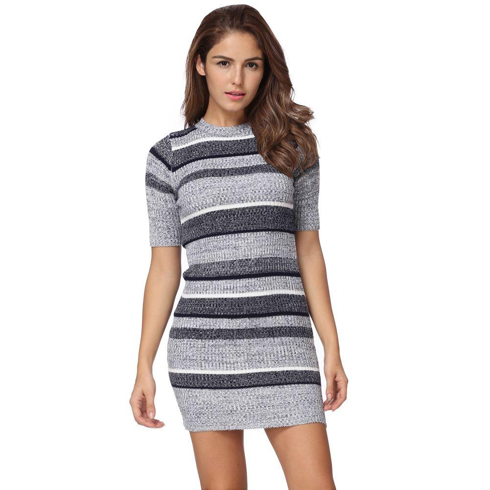 Women Knitted Striped Dress Autumn Fashion Bodycon Dress Half Sleeves  Ribbed Stretchy Long Sweater Jumper Dress Vestidos Festa T Shirt Dresses  Cheap Black ... 17be3fa1f