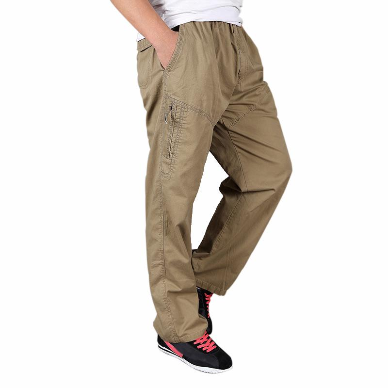 ee997992332 2019 Plus Size Loose Men Cotton Cargo Pants 6XL Elastic Waist Trousers Male  Long Trousers Hiking Sports Multiple Pockets Pants From Portnice