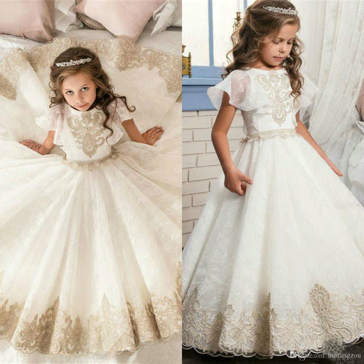 345c81429a2 2019 Cute First Communion Dress For Kids Jewel Lace Appliques Tulle Ball Gown  Flower Girl Dresses Custom Made Girls Pageant Gowns Dresses For Flower Girl  ...