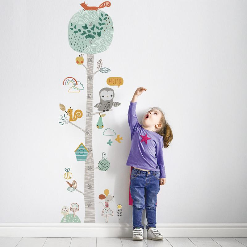 DIY Forest Animal Trees Height Wall Sticker Decor Nordic Ins Children Height Measure Mural Decals Nursery Lovely Wallpaper