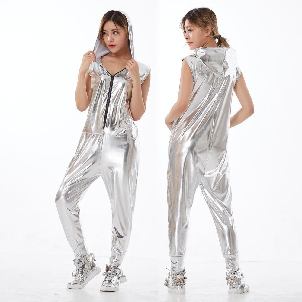 db2b3bbcfc007 Compre Nova Moda Hip Hop Traje De Dança Palco Desgaste Do Desempenho  Europeu Harem Jazz Solto Crianças Adulto Prata Macacão Calças De Uma Peça  De Beenling
