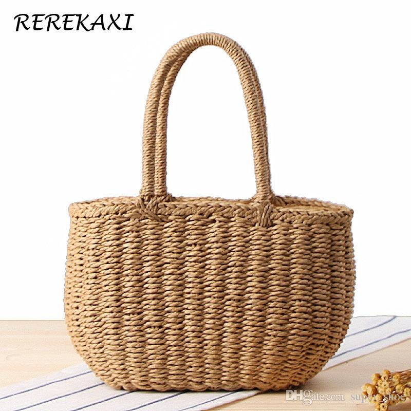 REREKAXI Bohemian Woman's Handbag Summer Handmade Straw Beach Bag Casual Travel Lady's Tote Wicker Clutch Bag Palm Basket #93957