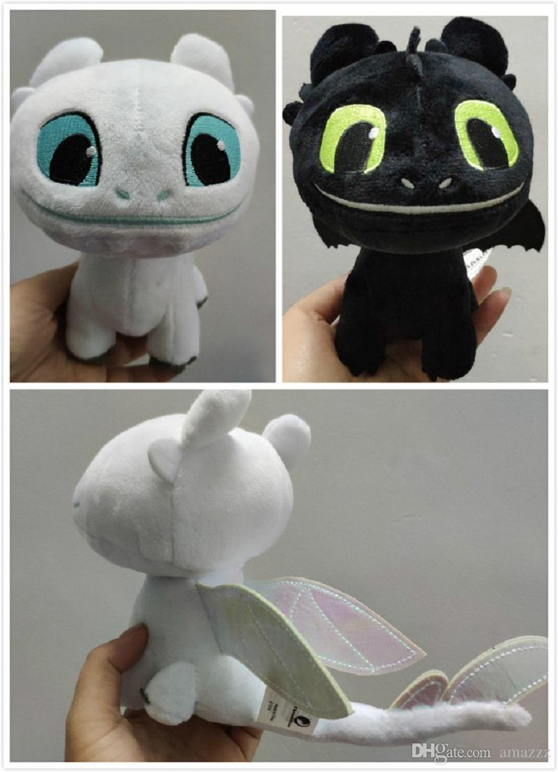 20pcs 16cm (6.3 inch) How to Train Your Dragon 3 Plush Toy Toothless Light Fury Soft Dragon Stuffed Animals Doll 2019 New Movie 2 Colors