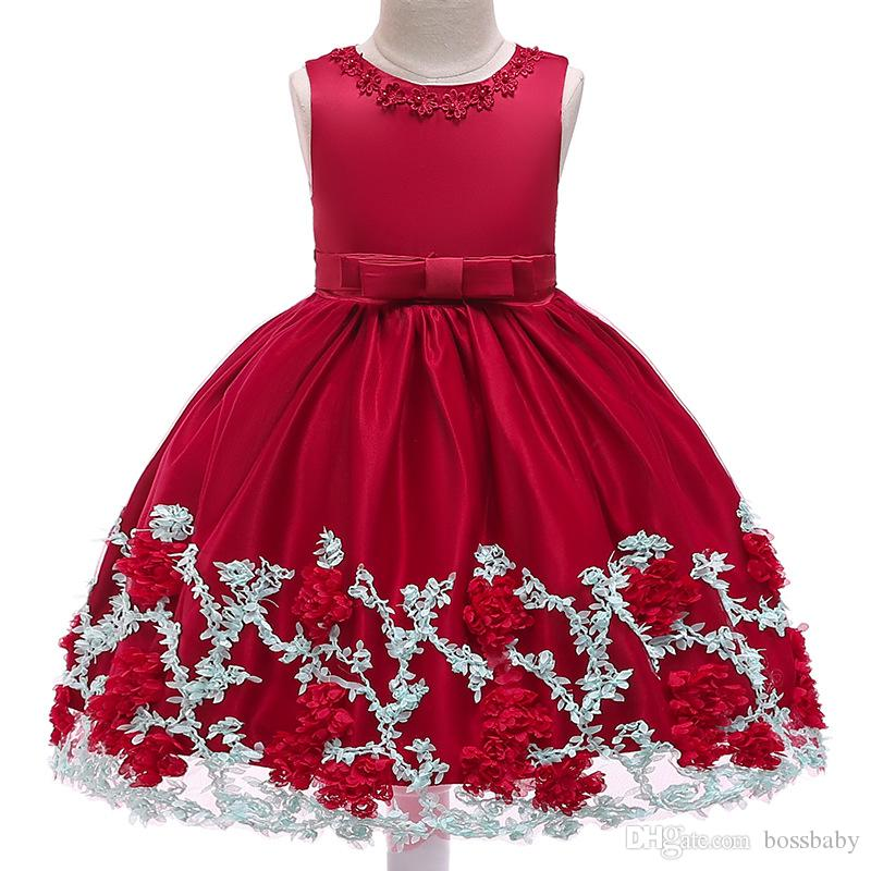 876e7e182 2019 Baby Girl Princess Dress Children Wedding Dress Kids Mesh Lace  Sleeveless Bowknot Boat Neck Ball Gown 28 From Bossbaby, $13.46 | DHgate.Com