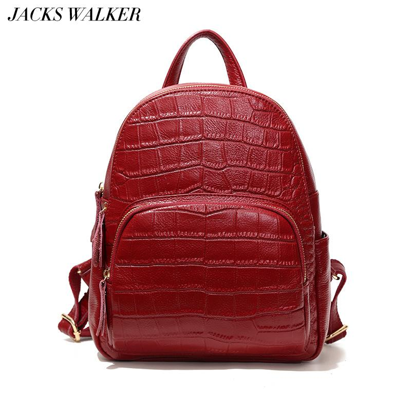 f5589f0807 Fashion 100% Genuine Leather Women Backpacks Quality Alligator Female Real  Natural Leather Lady Girl Student Casual Backpack Justice Backpacks Camping  ...