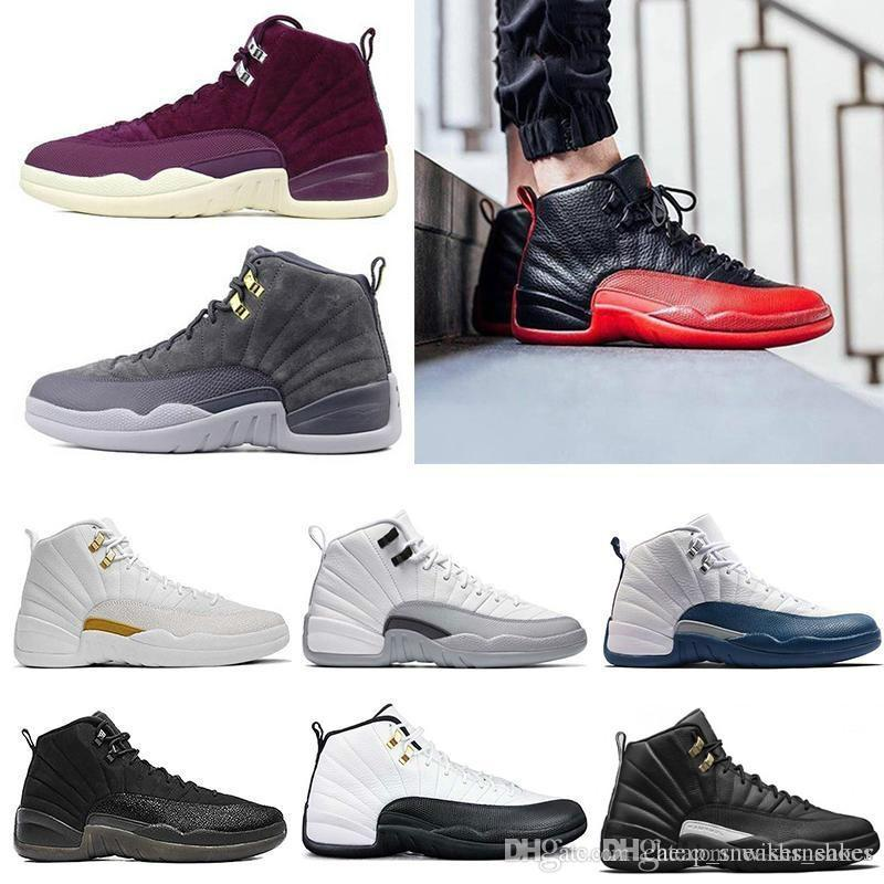 8f30eda5787 12s Mens Basketball Shoes OVO Flu Game The Master Gym Red DARK GREY GAMMA  BLUE 12 Trainers Sneakers Men Sports Shoe Size 8 13 Jordans Running Shoes  From ...