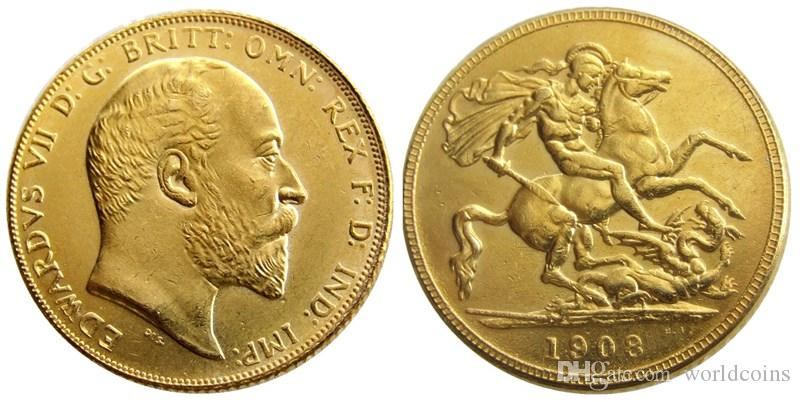 UK Rare 1908 British coin King Edward VII 1 Sovereign Matt 24-K Gold Plated  Copy Coins Free Shipping