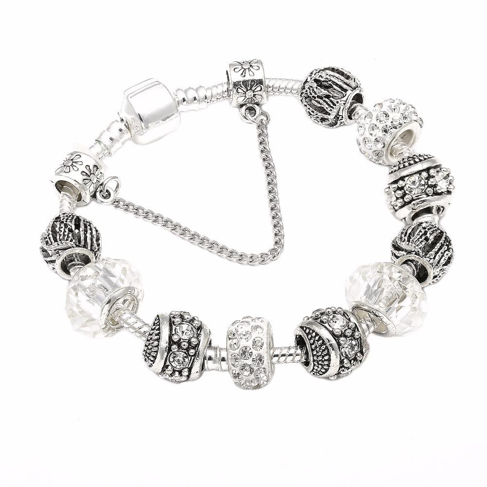 Silver Color Charm Bracelet & Bangle Crystal Ball White Beads Brand Bracelet for Women Jewelry Gift