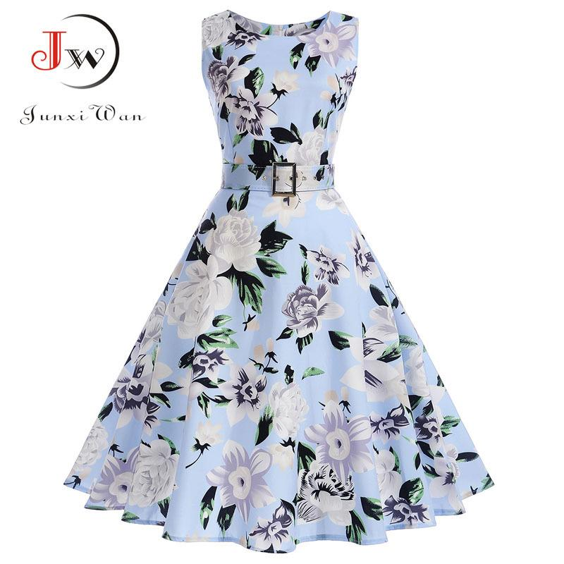 4e971794d27d7e 2019 Vestidos Vintage Dress Summer Floral Print Sleeveless Party Dresses 50s  60s Elegant Rockabilly Sexy Pin Up Dress With Belt Y19012201 From Tao02, ...