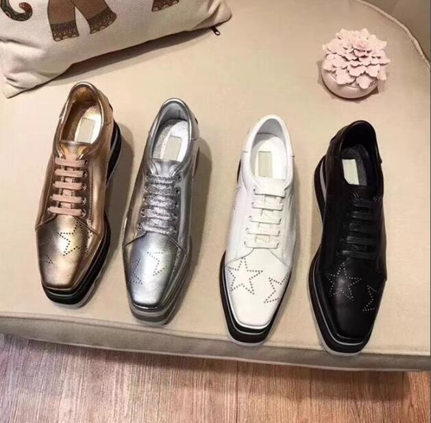 NEW Stella Mccartney Womens Calfskin Genuine Leather Platform Casual Shoes Cut-outs Star Oxfords Stripes Wedge Elyse Lace-up Sneaker