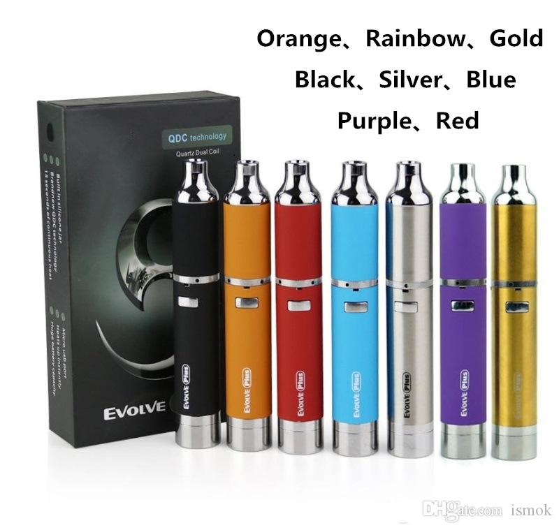 8Colors Evolve Plus Dab Wax Vape Pen Kit E Cigarettes 1100mAh Battery Dry Herb Concentrate Atomizer with QDC Coils XL Herbal Wax Vaporizer