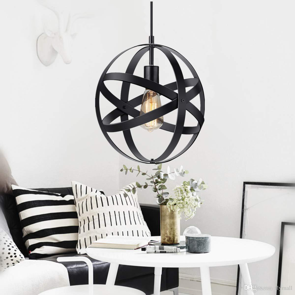 Industrial Metal Pendant Lamp Rustic Chandelier Vintage Hanging Cage Globe Ceiling Light Fixture for Kitchen Dining Room Entryway
