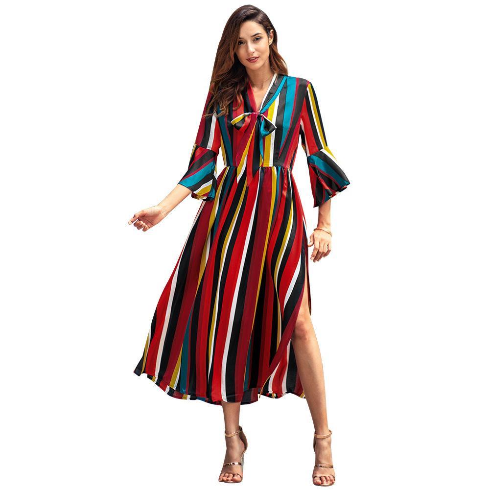 Acheter Costume Robe 2019 Printemps Nouveau Modèle À Manches Longues  Rainbow Stripe Vent Dress Modes Casual Robes Pour Femmes Vêtements Dames  Livraison