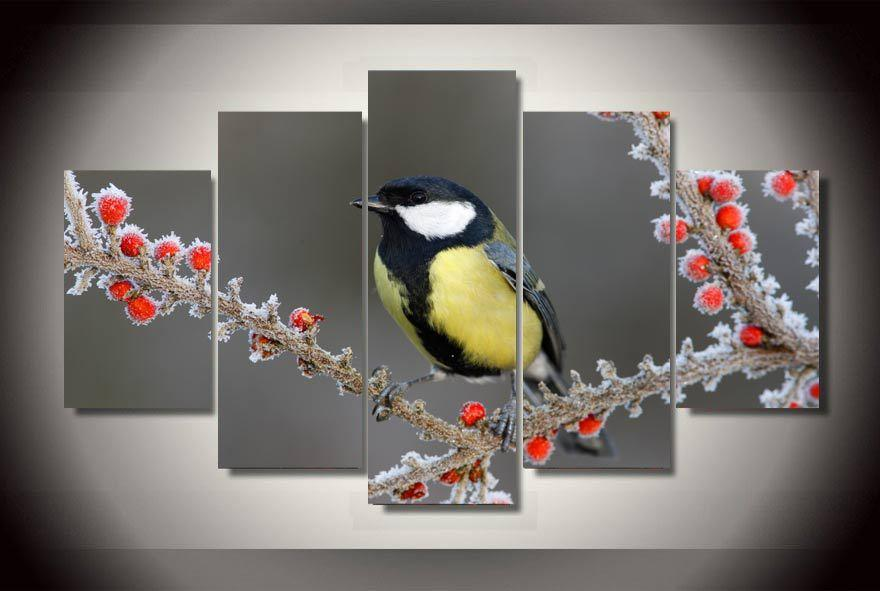 Satın Al Hd Baskılı Kırmızı Meyve Ve Kuşlar Boyama Tuval Odası