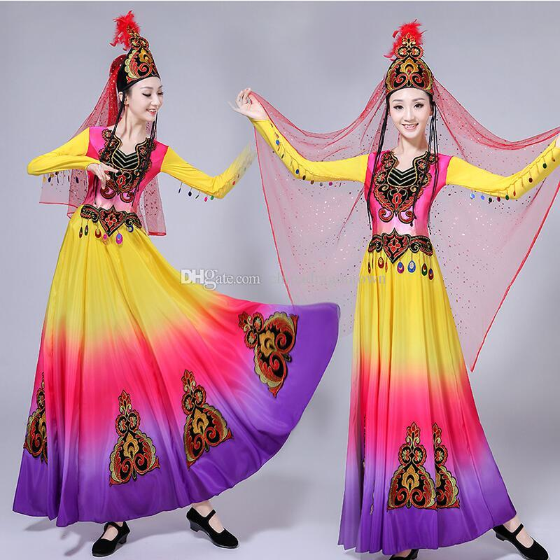 37605daaa9 2019 Chinese Folk Dance Costumes Carnival Colorful Dress Xinjiang Uygur Dance  Clothing National Style Festival Stage Performance Wear From  Chinadragontown, ...