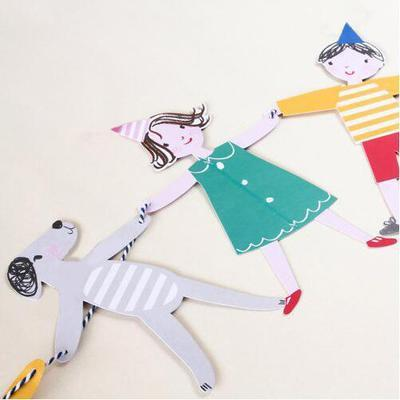 Mayorista 2019 Bunting Person and Animal Paper Banner Pennant Bunting Birthday Party Decor Flag para niños Boy Girl Party Supplies Accesorios
