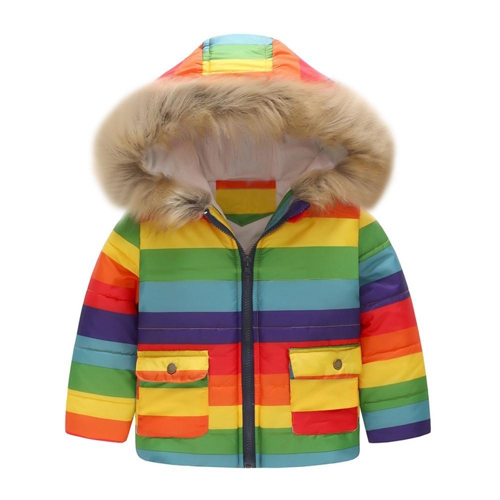 ca7dc05f4f65 good quality Baby coats and jackets Girl Boy Winter clothes Stripe Rainbow  Warm Jacket Hooded Windproof Coat manteau garcon