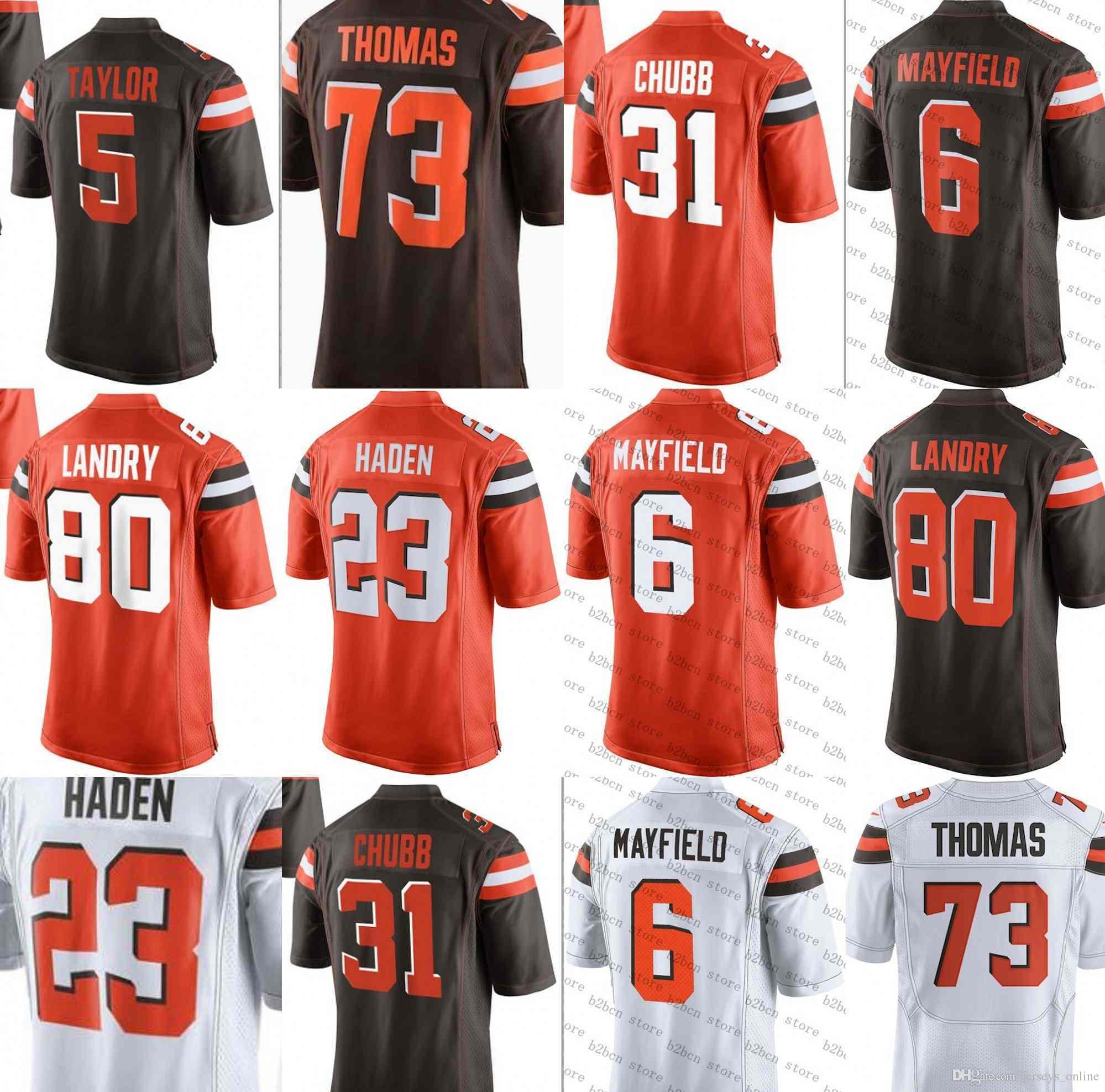 061e9fc54 2019 6 Baker Mayfield Cleveland Jersey 22 Jabrill Peppers Brown 95 Myles  Garrett 80 Jarvis Landry 73 Joe Thomas 21 Denzel Ward 100% Stitched01 From  ...