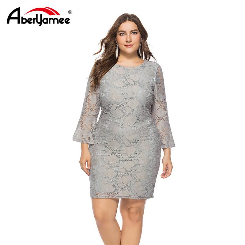 84330474ff58 Plus Size Women Sexy Slim Lace Dress Office Lady Tight Long Sleeve Vintage  Dress Elegant Fashion Gray Party Vestidos For Female Clothes For Black  Women ...