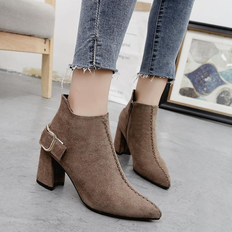 bd32f9b8c7eff Women Ankle Boots 7cm Heels Autumn Lady s Shoes Zip Leather Casual Retro  Pointed Toe Pu Square High Heels Pumps Plus Size 35-42