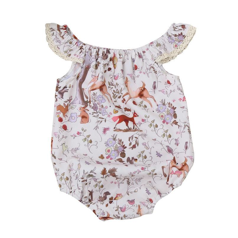 73c66249041 2019 Summer Babys Romper Jumpsuit Newborn Baby Girls Off Shoulder Deer  Floral Print Lace Romper Jumpsuit Baby Girl Clothes M8Y17 From Textgoods01