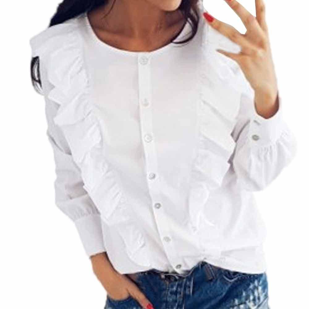 867494e0342840 Women Fashion Tops Button Front Long Sleeve Shirt O Neck Yoke Frill Trim  White Blouse Blusas Mujer #VE Online with $45.19/Piece on Bibei10's Store |  DHgate. ...