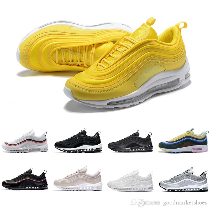 on sale b3c94 a4946 Compre Nike Air Max 97 Airmax 97 Zapatos Para Correr Mostaza 97s Chaussures  SE South Beach Pull Tab Triple Negro Blanco Hombres Mujeres Entrenador  Diseñador ...