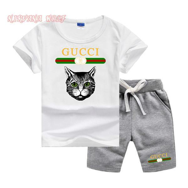 Cat Luxury Designer Baby Boys Summer Sport Toddler Clothing Set Kids Cartoon T Shirts+Shorts Pants 2 Pcs Clothes Tracksuit Sets 2 -7 Years