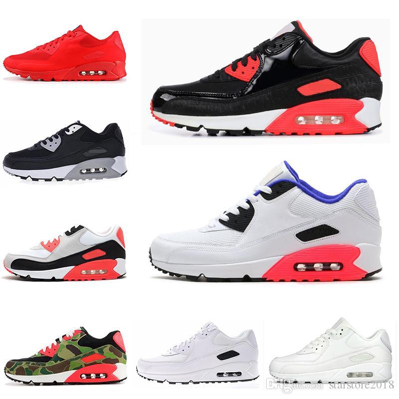buy online c72ba 80c72 Compre Nike Air Max 90 Barato 90 Mens Running Shoes Triplo Preto Branco EUA  Oreo PRETO CROC Homens Mulheres Trainer Respirável Sapatos De Esportes  Tamanho ...
