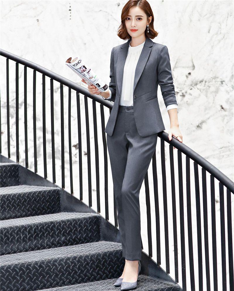 bd4e8d4cb44 Compre Diseños De Uniformes De Moda Pantsuits Con Chaquetas Y Pantalones  Para Damas De Oficina Blazers Pantalones Trajes Mujer Pantalones Conjuntos  6017 A ...