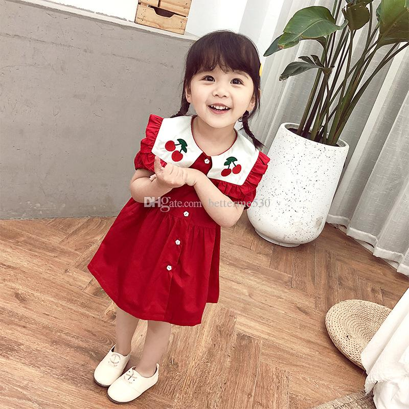 Summer Dress new girls Cute cartoon print red dress baby sweet short sleeve skirt children's clothing