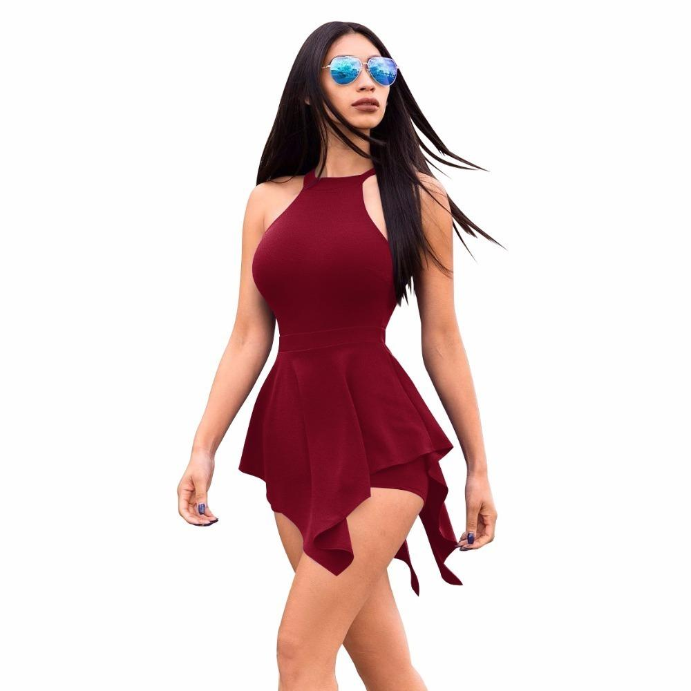 2018 Summer Hot Popular Asimétrico Ladies Playsuits Flaco Sexy Solid sin mangas Hollow Out Mini Ladies Playsuits Y19051601