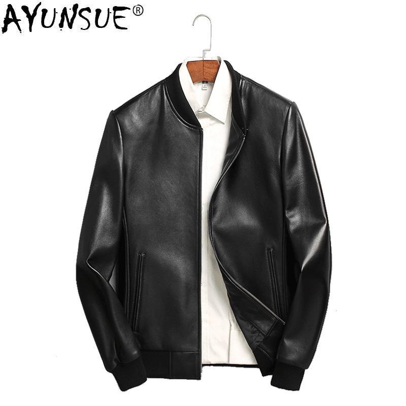 homme dernière mode choisir l'original AYUNSUE Spring Genuine Leather Jacket Men Motorcycle Bomber Jacket  Sheepskin Coat for Men Blouson Cuir Homme 71I6086 KJ2117