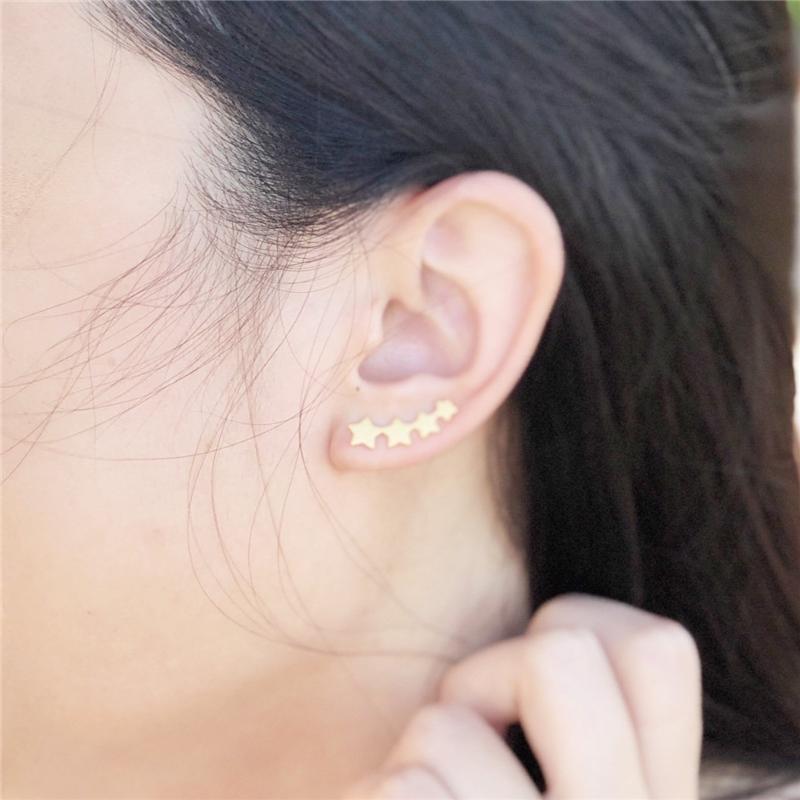 Oído Yiustar onda de manguito de onda cartílago Pendientes mujeres de acero inoxidable trenzado del oído del manguito de Boho falsos joyería concha Piercing zarcillos