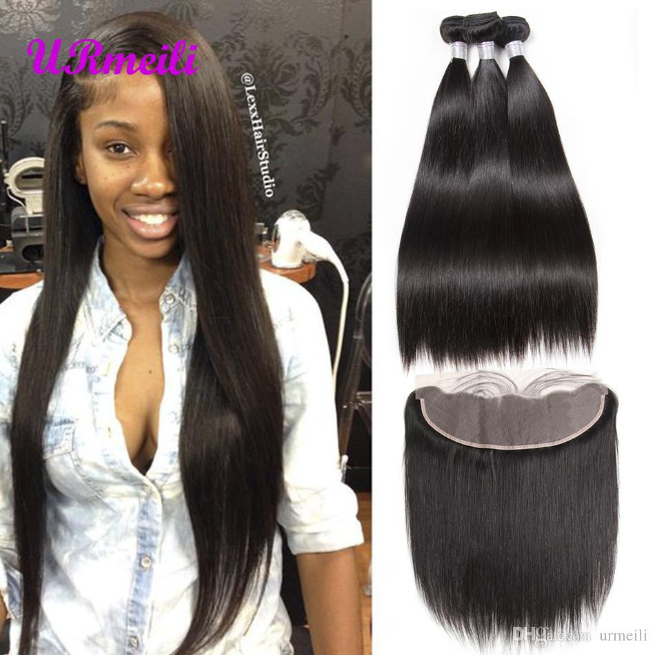 brazilian virgin hair bundles with lace front closures straight human hair bundles with lace frontal brazilian straight bundles and frontal