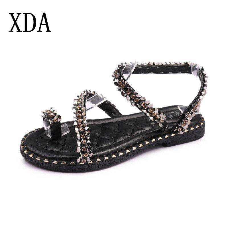 c133176d1771 XDA Bohemia Sequins Women Sandals Flip Flops 2019 New Summer Fashion Rome  Flat Sandal Slip On Shoes Woman Casual Female Sandals Girls Sandals White  Sandals ...