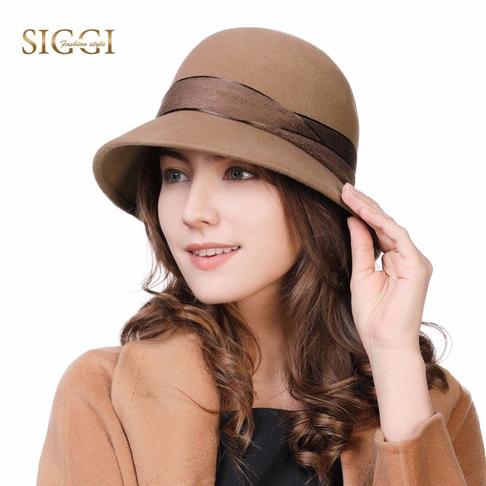 acc5e848f18 FANCET Women 100% Wool Felt Cloche Fedora Hat Ladies Party Fashion Winter  Hats Elegant Adjustable Waistband 99339 Fedoras Cheap Fedoras FANCET Women  100% ...