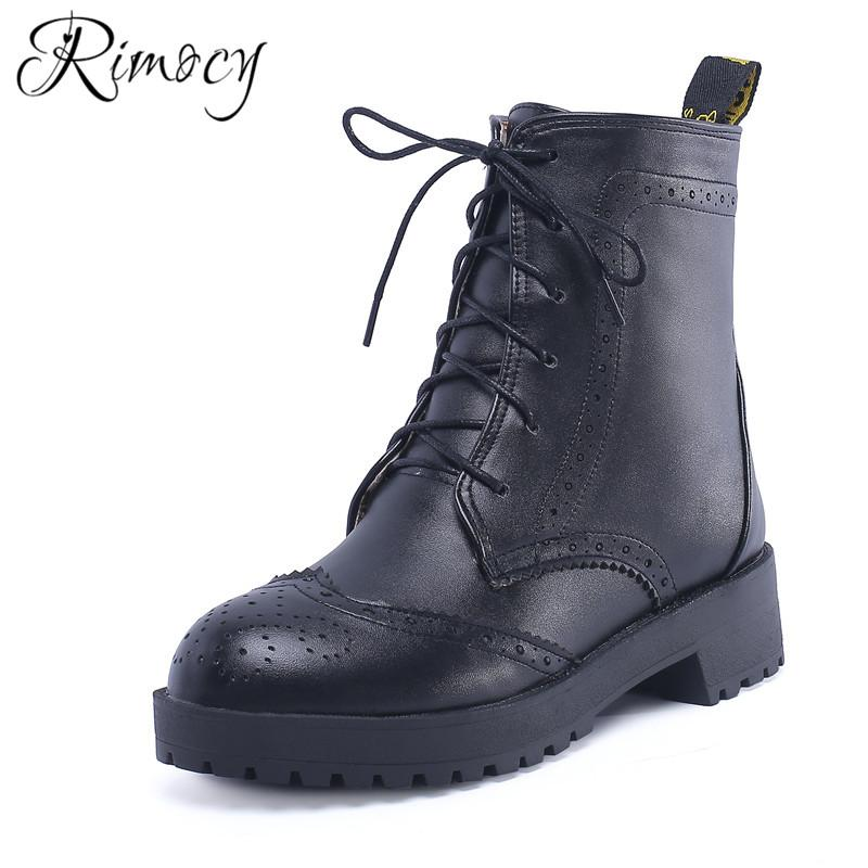 1d446414417 Rimocy women s Lace Up Warmful Solid Color ankle boots 2018 Winter new  Women flat shoes ladies Round Toe square heels Short Boot
