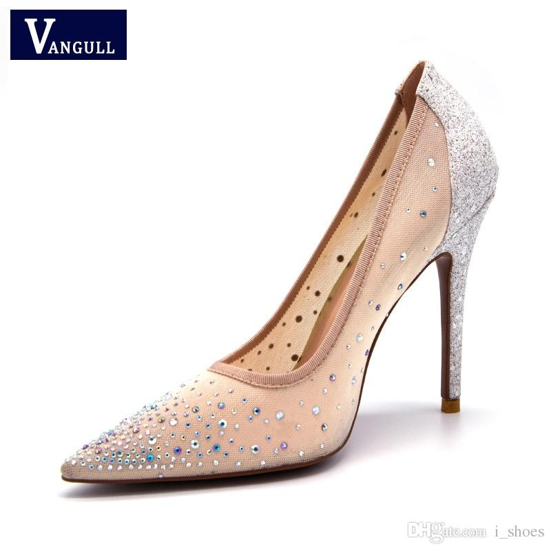 eb62fcb58 Vangull New Silver Bling Fashion Design Women S High Heel Pumps Summer See  Through Party Wedding Stiletto Shoes 11cm Thin Heels  9543 Oxford Shoes  Ladies ...