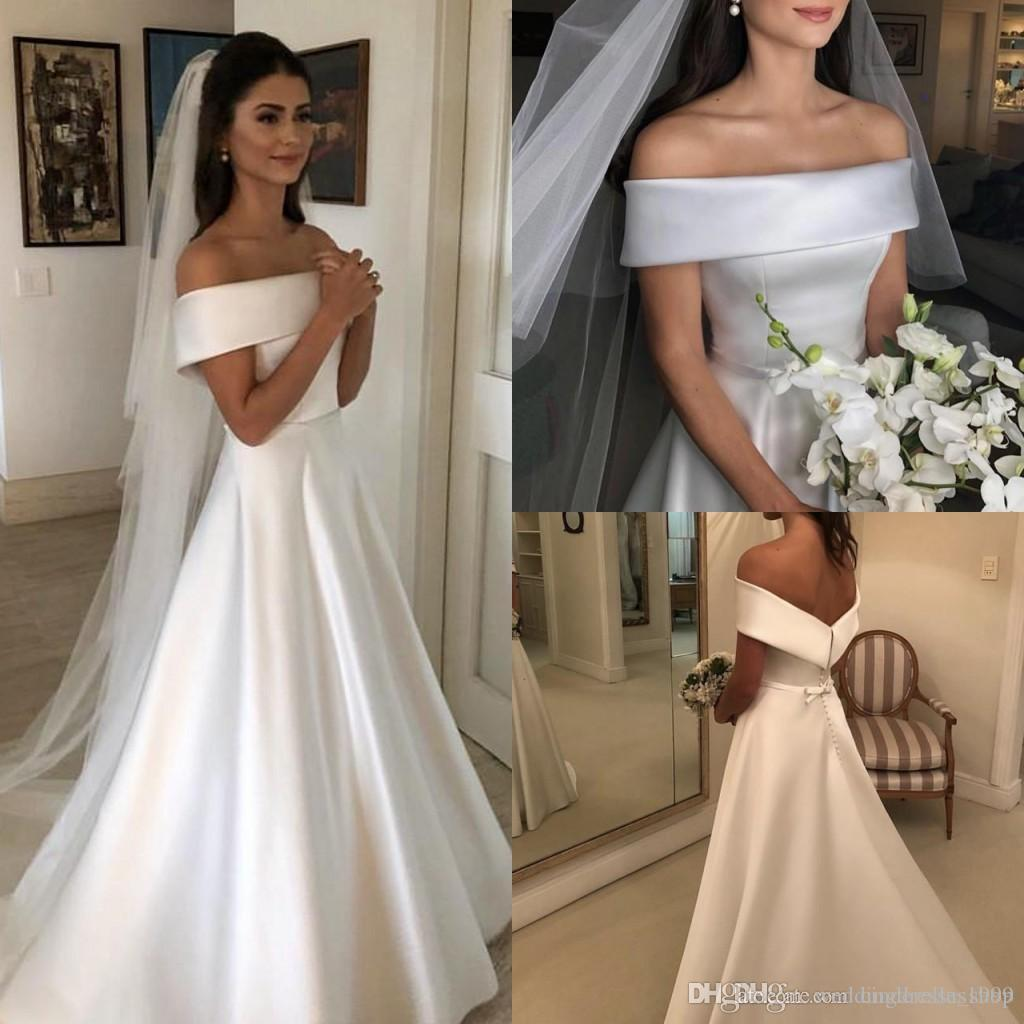 1a8b31fecd0a Discount Charming Simple Garden Wedding Dresses 2019 Off Shoulder Ribbon  Back With Button A Line Sweep Train Satin Bridal Gowns Cheap Customiz Red  Wedding ...