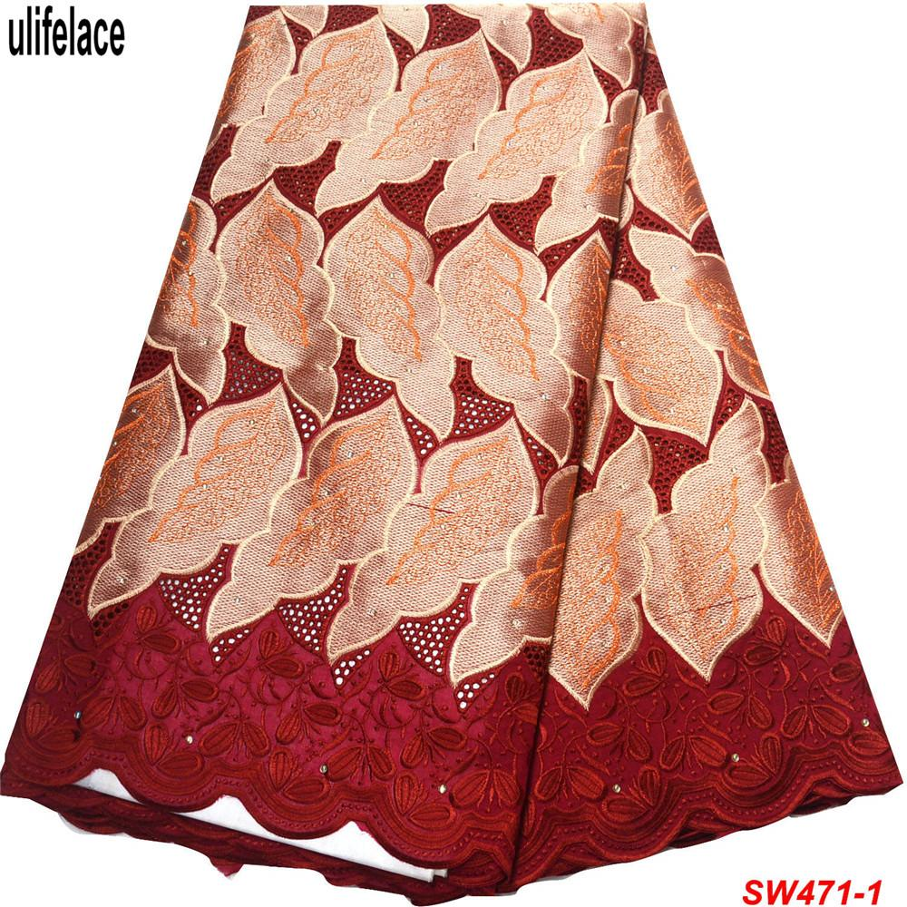 High Quality Swiss Voile Laces In Switzerland African Dry Cotton Lace Fabric Beautiful Leaf Burgundy Nigerian Voile Lace SW-471