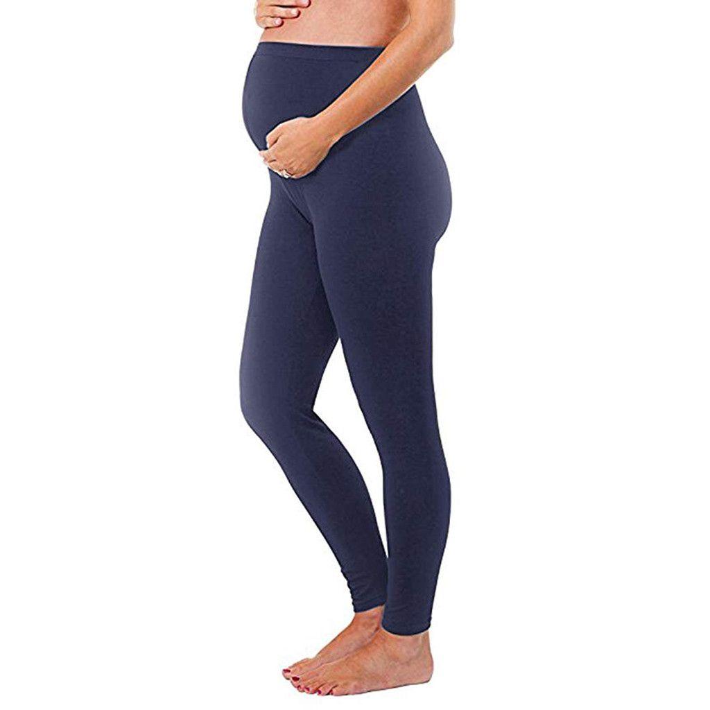 4f7c44c06 Compre 2019 Nueva Moda De Primavera Mujeres De Invierno De Maternidad  Leggings Sin Costuras Pantalones De Color Sólido Estirable Pantalones De  Embarazo A ...