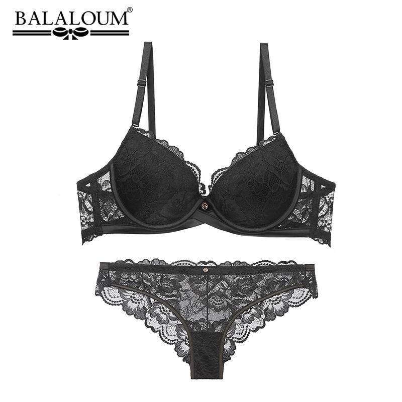 18e59356a41 2019 BALALOUM Sexy Push Up Floral Lace Bra Briefs Sets Transparent Panties  Comfortable Brassiere Underwear Lingerie BLACK From Yuhuicuo