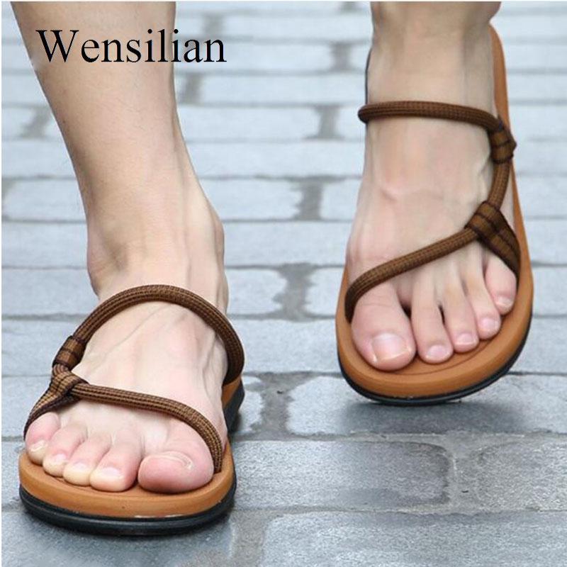 7191101482d5 Sandals Men Roman Gladiator Sandals For Male Summer Beach Shoes Flip Flops  Slip On Flats Slippers Slides Sandalias Hombre Summer Shoes Purple Shoes  From ...